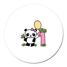 Lil' Panda Girl First Birthday Round Car Magnet