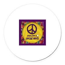 Peace, Love, & Social Work Round Car Magnet