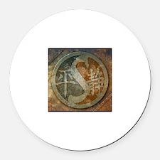 """Stylized Yin Yang II"" Round Car Magnet ~ extra ru"
