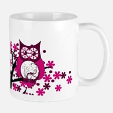 Maroon Swirly Owl Windy Tree Mug