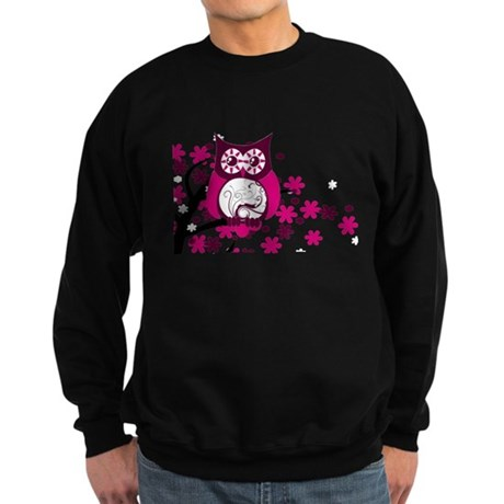 Maroon Swirly Owl Windy Tree Sweatshirt (dark)