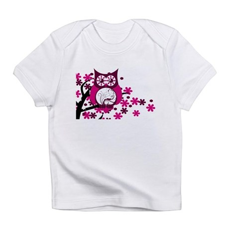 Maroon Swirly Owl Windy Tree Infant T-Shirt