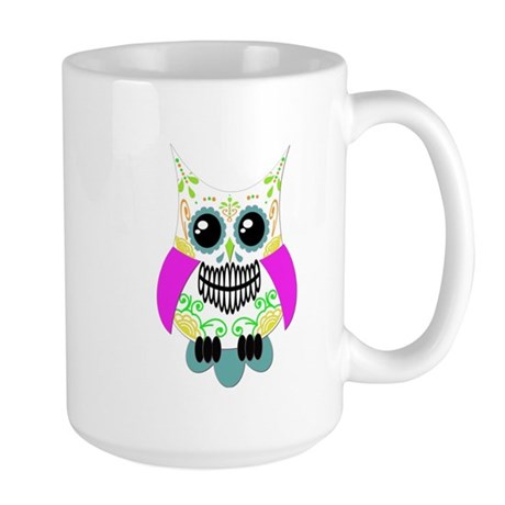 Sugar Skull Multi Pink Color Owl Large Mug