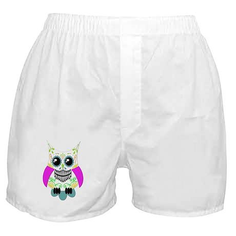 Sugar Skull Multi Pink Color Owl Boxer Shorts