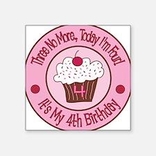 4th Birthday Cupcake Square Sticker