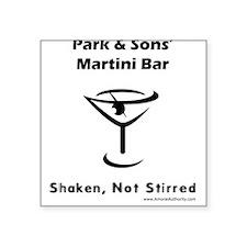 Park & Sons' Martini Bar Square Sticker (White