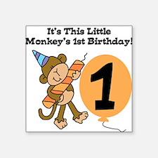 Little Monkey 1st Birthday Square Sticker