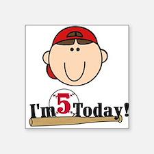 Baseball 5th Birthday(brown) Square Sticker