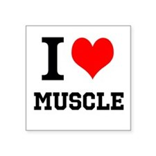 "I Love Muscle Square Sticker 3"" x 3"""