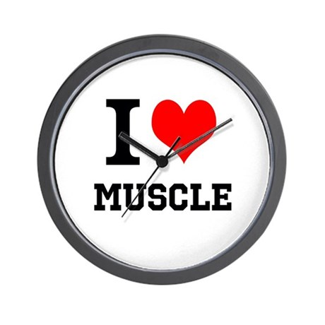 I Love Muscle Wall Clock