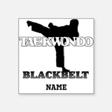 Personalized TaeKwonDo Black Belt Square Sticker