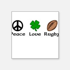 Peace Love Rugby Irish Square Sticker