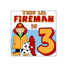 Fireman 3rd Birthday Square Sticker