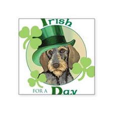 St. Pat Wirehaired Dachshund Square Sticker