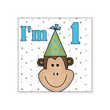 Monkey 1st Birthday Square Sticker