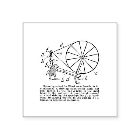 Yarn - Vintage Spinning Wheel Square Sticker