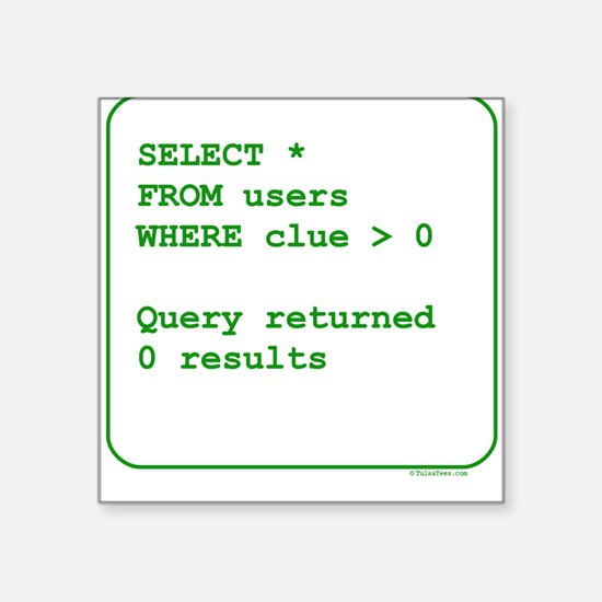 Clueless Users Square Sticker