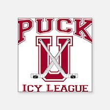 Red Puck U Hockey Square Sticker