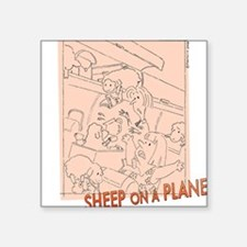 Sheep On a Plane Square Sticker