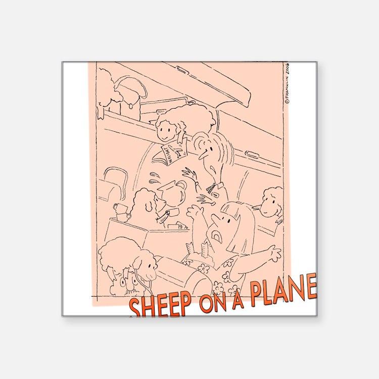 Sheep On a Plane Square Sticker