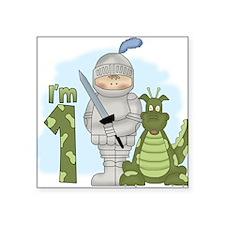 Dragon Knight First Birthday Square Sticker
