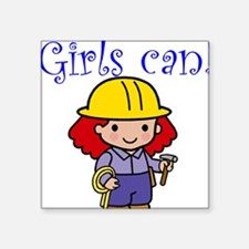 Girl Construction Worker Square Sticker
