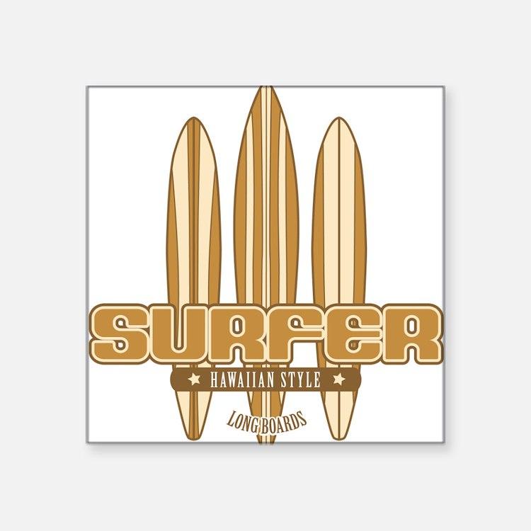 Long Board Surfer Square Sticker