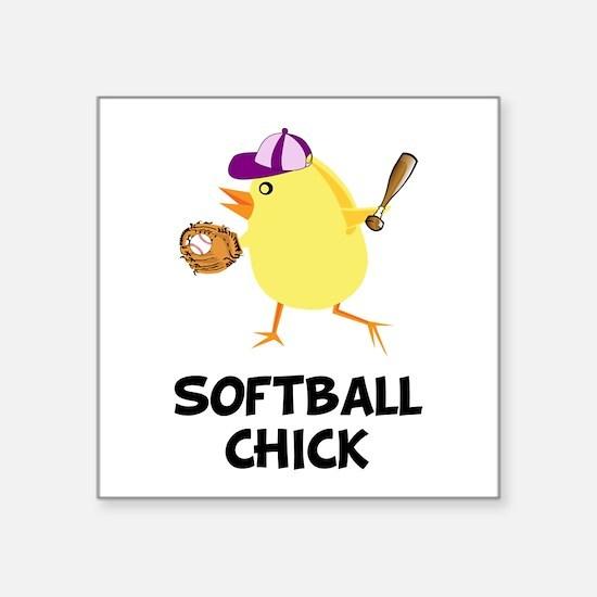 Softball Chick Square Sticker