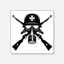 German Gas Mask Square Sticker