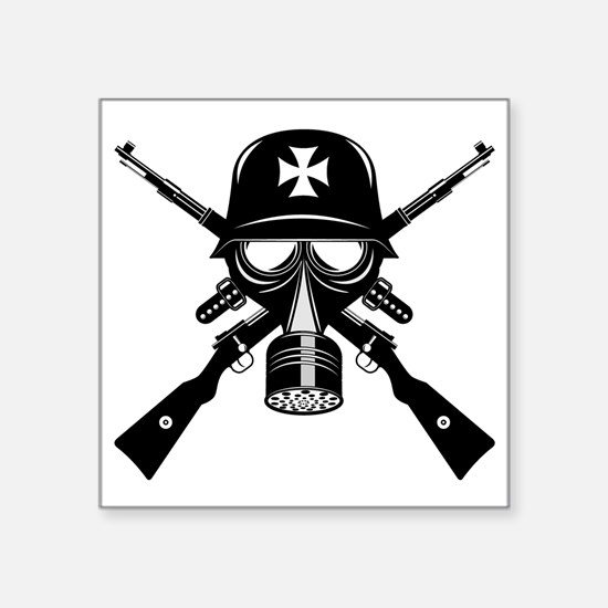 German Gas Mask Square Sticker