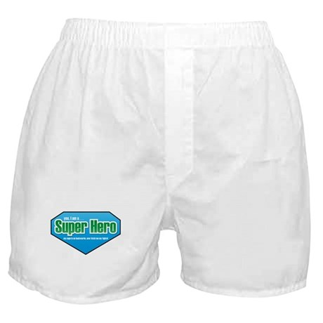 Super Hero in Green and Blue Boxer Shorts