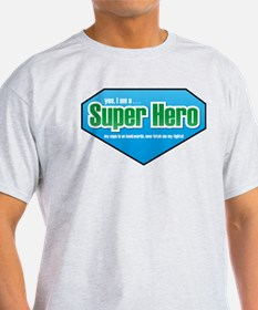 Super Hero in Green and Blue T-Shirt