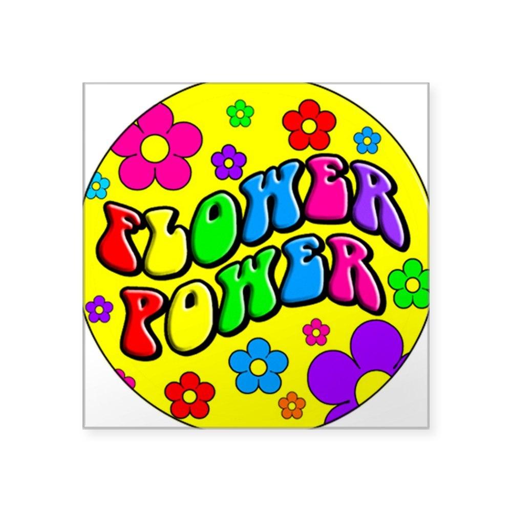 647987589 CafePress FLOWER POWER Square Sticker