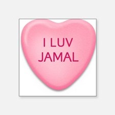 I Luv JAMAL Candy Heart Square Sticker