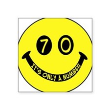 70th birthday smiley face Square Sticker