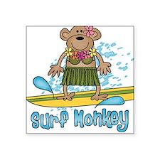 Surf Monkey (girl) Square Sticker
