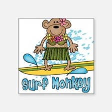 Surf Monkey (girl) Square Sticker