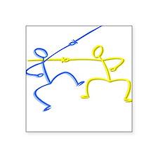 Stick figure fencing Square Sticker