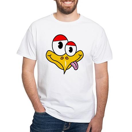 Crazy Bird Cartoon White T-Shirt