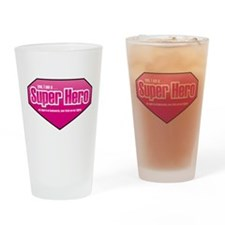 Super Hero in PINK Drinking Glass