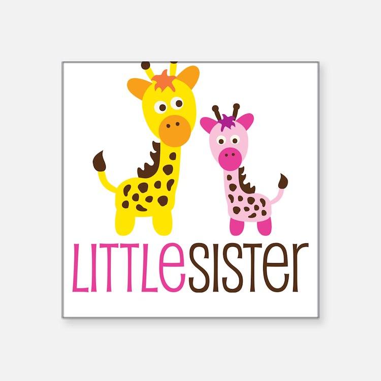 Giraffe Little Sister Square Sticker