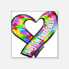 Puzzle Ribbon Heart Square Sticker