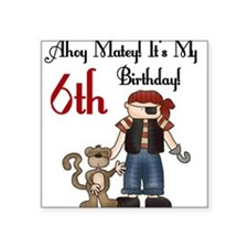 Pirate Party 6th Birthday Square Sticker