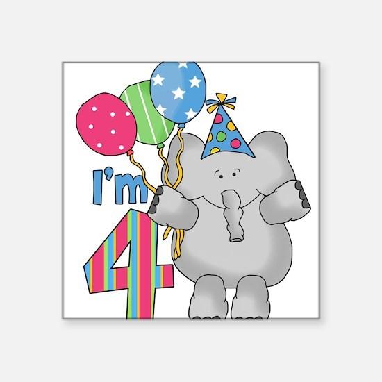 Lil Elephant 4th Birthday Square Sticker