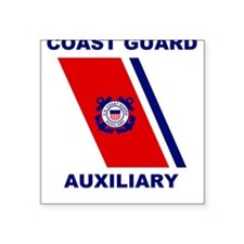 USCG Auxiliary Stripe<BR> Grey Square Sticker 2