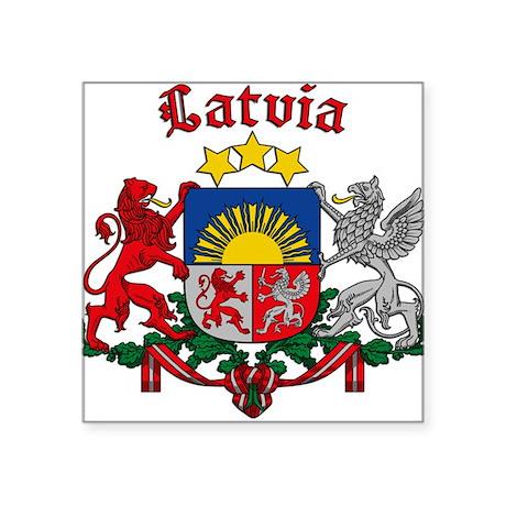 Latvian Crest Square Sticker