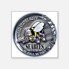 USN Seabees We Build We Fight Square Sticker