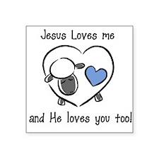 Jesus Loves Me Sheep Blue Baby Square Sticker