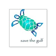 save the gulf - sea turtle bl Square Sticker