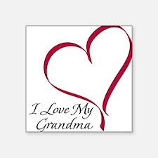 I Love My Grandma Heart Square Sticker